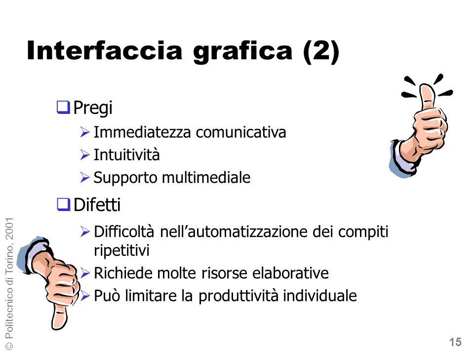 15 © Politecnico di Torino, 2001 Interfaccia grafica (2) Difetti Pregi Immediatezza comunicativa Intuitività Supporto multimediale Difficoltà nellautomatizzazione dei compiti ripetitivi Richiede molte risorse elaborative Può limitare la produttività individuale