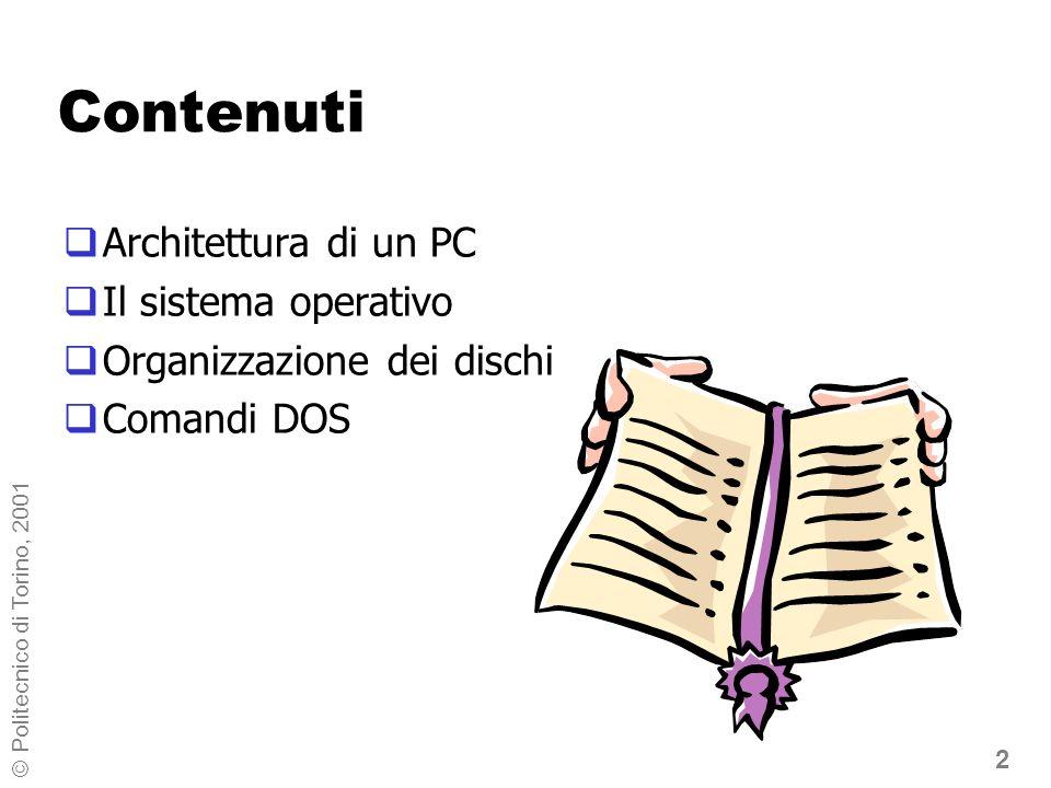 23 © Politecnico di Torino, 2001 Nomi ed estensioni Il nome: aiuta lutente a ricordare il contenuto in DOS, è formato da 1 ad 8 caratteri: lettere (A-Z), cifre (0-9), alcuni caratteri speciali ( .