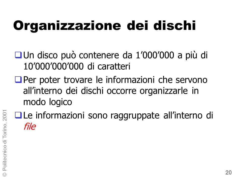 20 © Politecnico di Torino, 2001 Organizzazione dei dischi Un disco può contenere da 1000000 a più di 10000000000 di caratteri Per poter trovare le informazioni che servono allinterno dei dischi occorre organizzarle in modo logico Le informazioni sono raggruppate allinterno di file