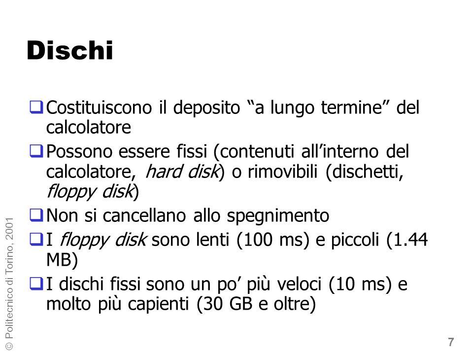 28 © Politecnico di Torino, 2001 Struttura ad albero (1) A:\ ESEMPIDISEGNI TESTI LETTERE ESAMI ANALISI FISICA Cartella radice sotto-cartelle (1° livello) sotto-cartelle (2° livello)