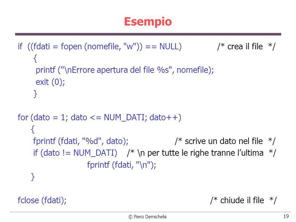 © Piero Demichelis 19 Esempio if ((fdati = fopen (nomefile,