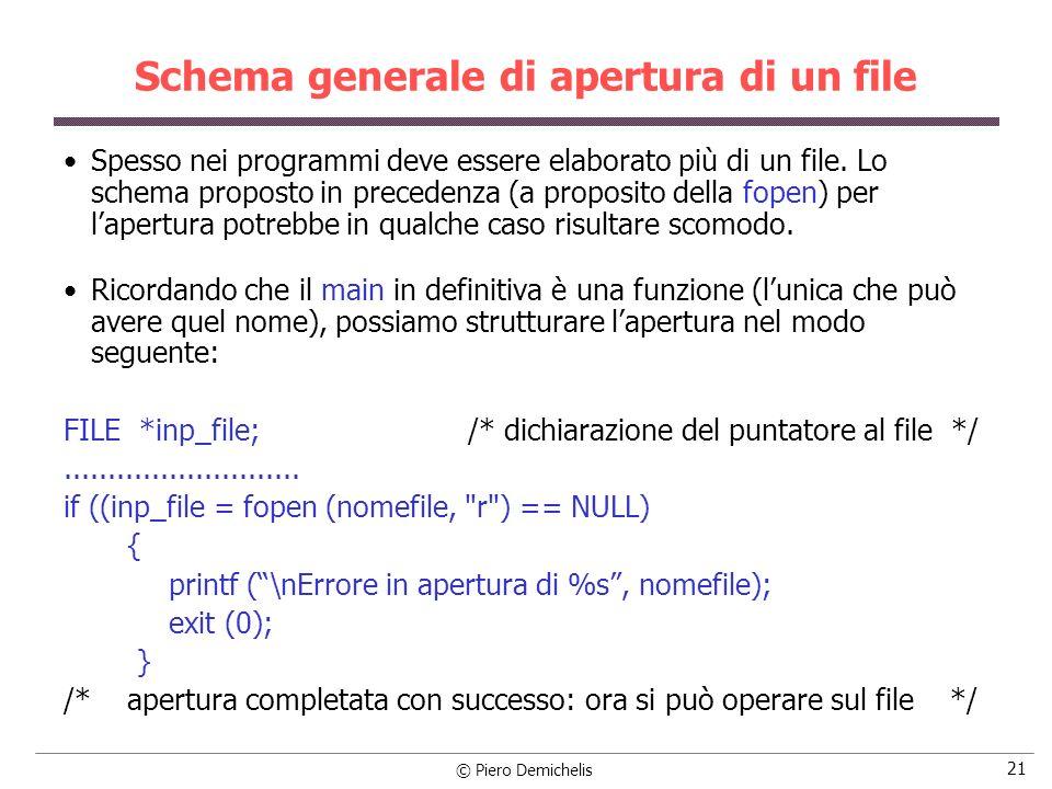 © Piero Demichelis 21 Schema generale di apertura di un file Spesso nei programmi deve essere elaborato più di un file. Lo schema proposto in preceden