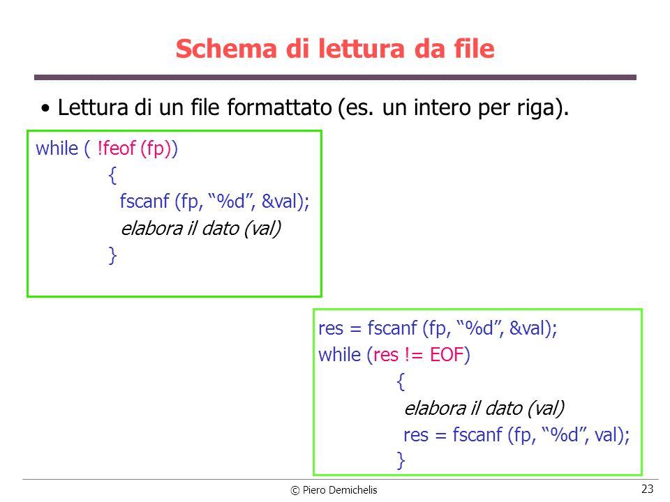 © Piero Demichelis 23 Schema di lettura da file Lettura di un file formattato (es. un intero per riga). res = fscanf (fp, %d, &val); while (res != EOF