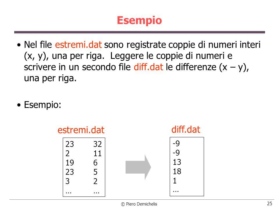 © Piero Demichelis 25 Esempio Nel file estremi.dat sono registrate coppie di numeri interi (x, y), una per riga. Leggere le coppie di numeri e scriver