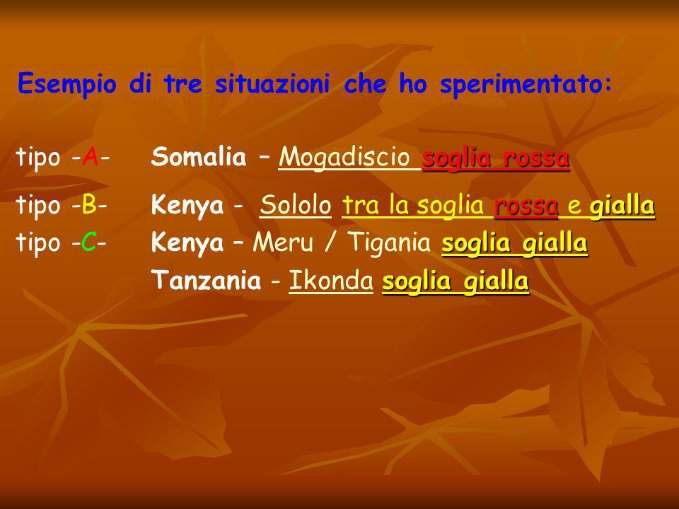 Esempio di tre situazioni che ho sperimentato: soglia rossa tipo -A- Somalia – Mogadiscio soglia rossaMogadiscio rossagialla tipo -B-Kenya - Sololo tra la soglia rossa e giallaSololo soglia gialla tipo -C- Kenya – Meru / Tigania soglia gialla soglia gialla Tanzania - Ikonda soglia giallaIkonda