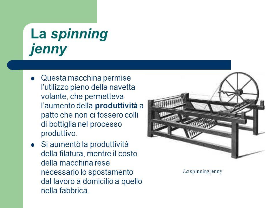 La spinning jenny Questa macchina permise lutilizzo pieno della navetta volante, che permetteva laumento della produttività a patto che non ci fossero