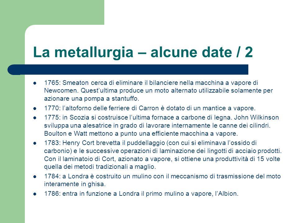 La metallurgia – alcune date / 2 1765: Smeaton cerca di eliminare il bilanciere nella macchina a vapore di Newcomen. Questultima produce un moto alter