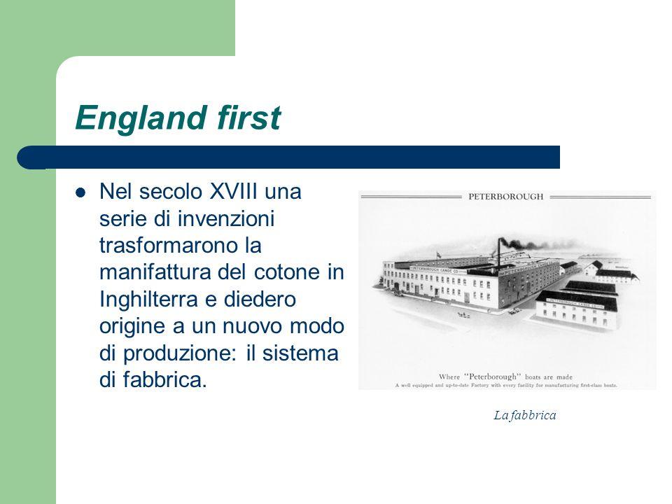 England first Nel secolo XVIII una serie di invenzioni trasformarono la manifattura del cotone in Inghilterra e diedero origine a un nuovo modo di pro