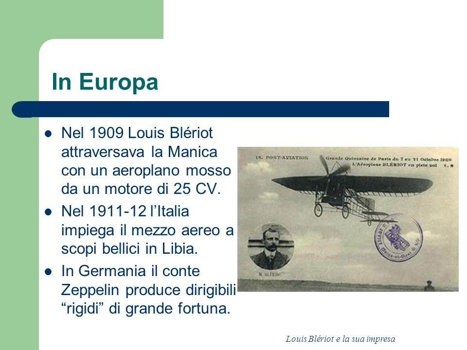 In Europa Nel 1909 Louis Blériot attraversava la Manica con un aeroplano mosso da un motore di 25 CV. Nel 1911-12 lItalia impiega il mezzo aereo a sco
