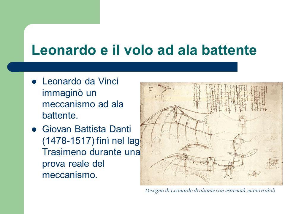 Leonardo e il volo ad ala battente Leonardo da Vinci immaginò un meccanismo ad ala battente. Giovan Battista Danti (1478-1517) finì nel lago Trasimeno