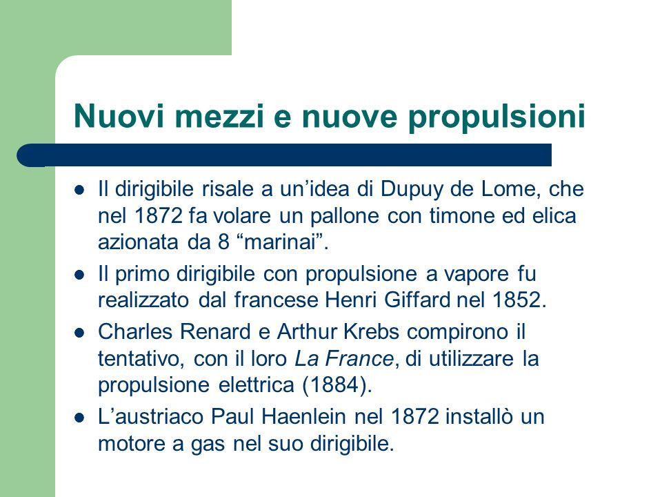 Nuovi mezzi e nuove propulsioni Il dirigibile risale a unidea di Dupuy de Lome, che nel 1872 fa volare un pallone con timone ed elica azionata da 8 ma