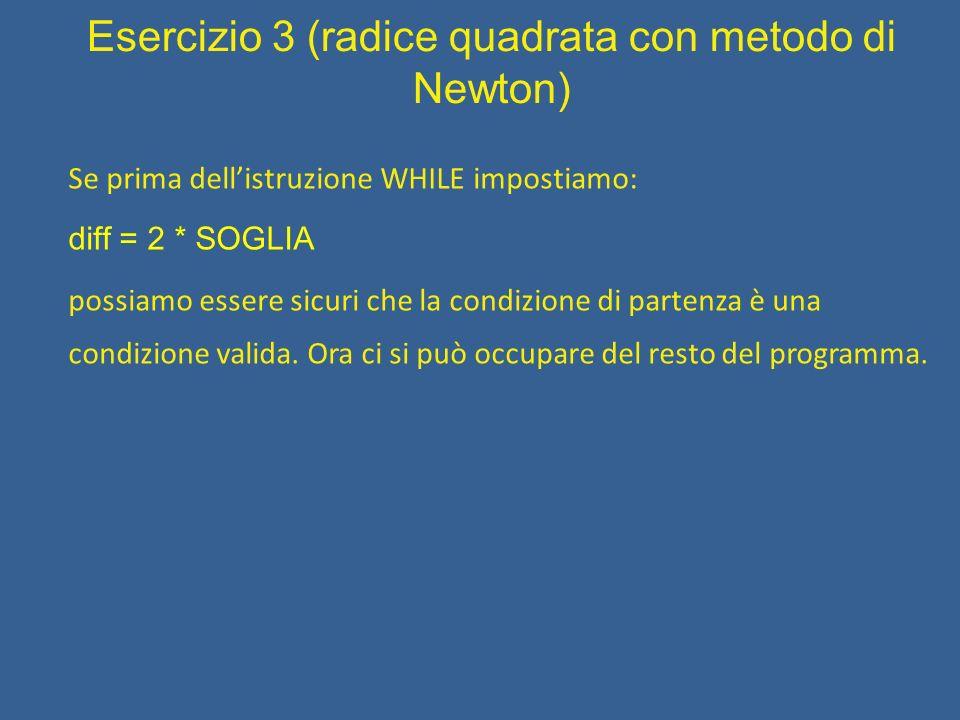 Esercizio 3 (radice quadrata con metodo di Newton) Traduzione in linguaggio C.