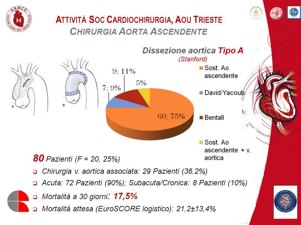 A TTIVITÀ S OC C ARDIOCHIRURGIA, A OU T RIESTE C HIRURGIA A ORTA A SCENDENTE 73 Pazienti (F = 15, 21,9%) Età: 71,2±7,6 anni Mortalità a 30 giorni : 9,1% Mortalità attesa (EuroSCORE logistico): 30,1±12,7% Epiaortic scanning