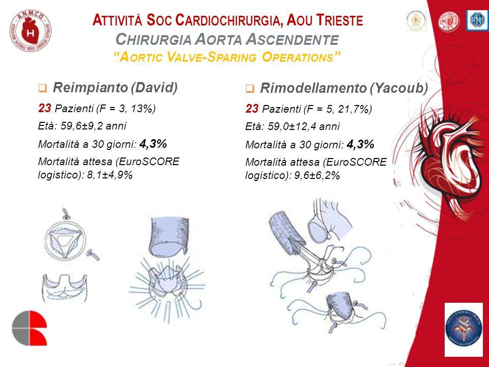A TTIVITÀ S OC C ARDIOCHIRURGIA, A OU T RIESTE C HIRURGIA A ORTA A SCENDENTE M ODIFIED B ENTALL O PERATION Protesi Meccanica 63 Pazienti Età: 56,6±11,0 anni Mortalità a 30 giorni: 8,5% Mortalità attesa (EuroSCORE logistico): 11,1±10,7% Protesi Biologica 85 Pazienti Età: 68,3±9,7 anni Mortalità a 30 giorni: 4,7% Mortalità attesa (EuroSCORE logistico): 15,3±9,2%