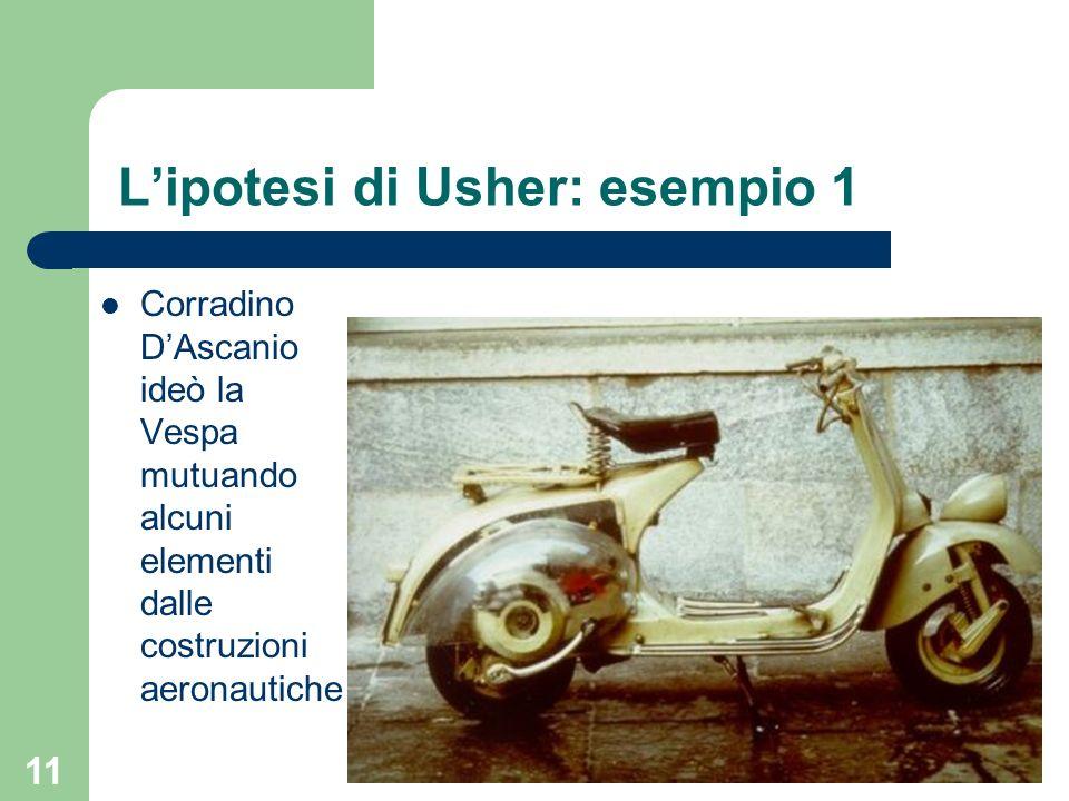 11 Lipotesi di Usher: esempio 1 Corradino DAscanio ideò la Vespa mutuando alcuni elementi dalle costruzioni aeronautiche