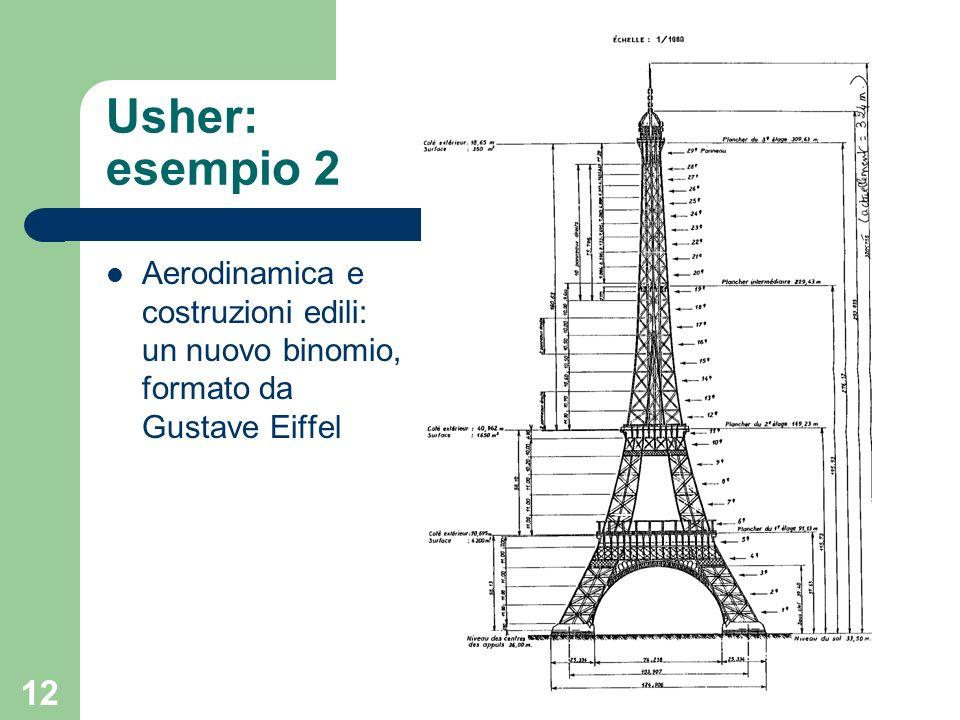 12 Usher: esempio 2 Aerodinamica e costruzioni edili: un nuovo binomio, formato da Gustave Eiffel