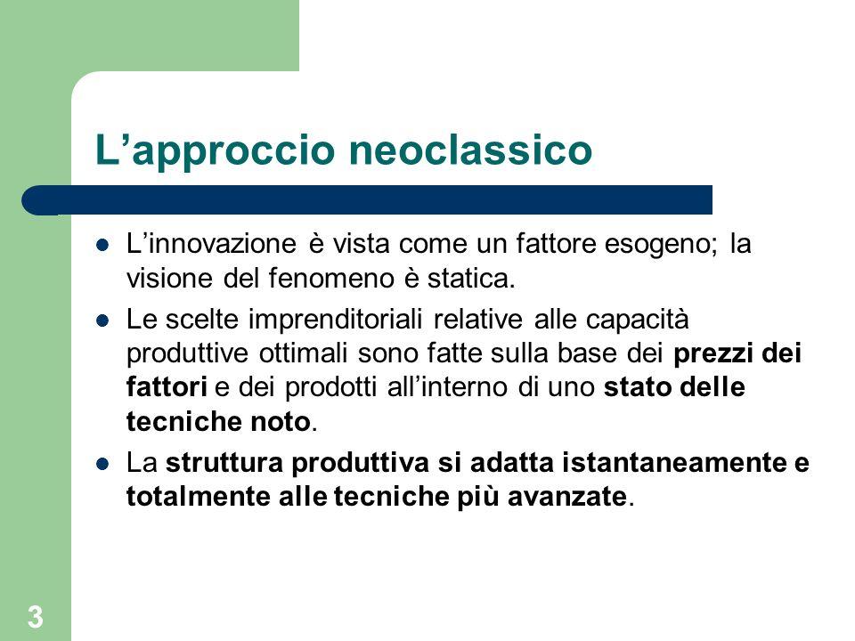 3 Lapproccio neoclassico Linnovazione è vista come un fattore esogeno; la visione del fenomeno è statica. Le scelte imprenditoriali relative alle capa