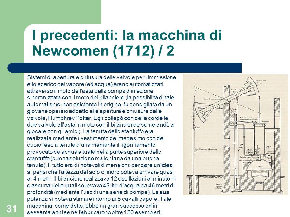 31 I precedenti: la macchina di Newcomen (1712) / 2 Sistemi di apertura e chiusura delle valvole per l'immissione e lo scarico del vapore (ed acqua) e
