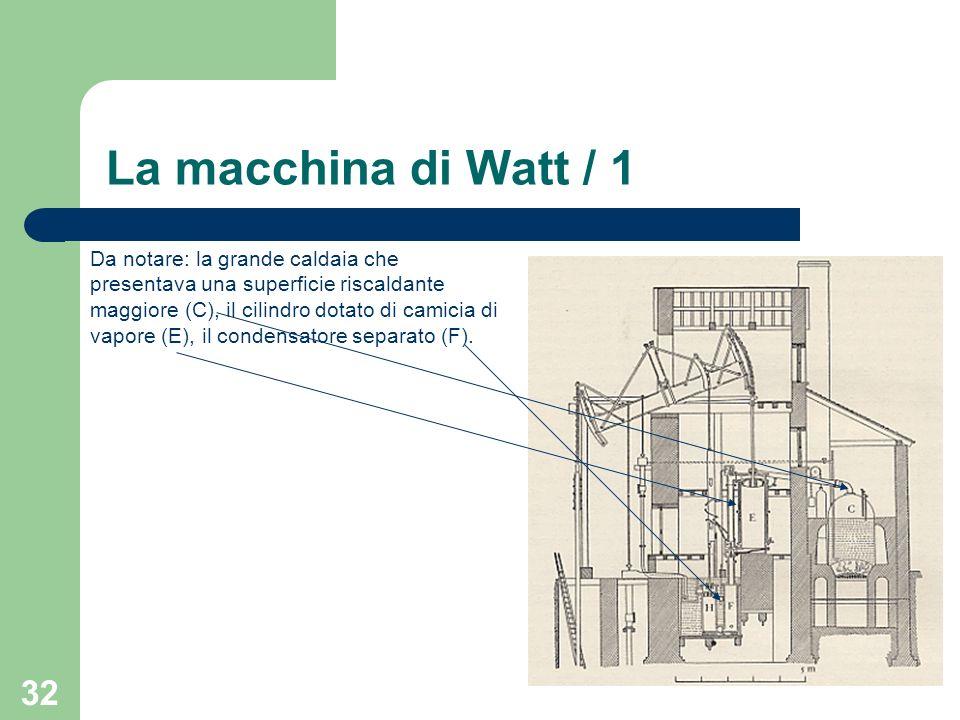 32 La macchina di Watt / 1 Da notare: la grande caldaia che presentava una superficie riscaldante maggiore (C), il cilindro dotato di camicia di vapor
