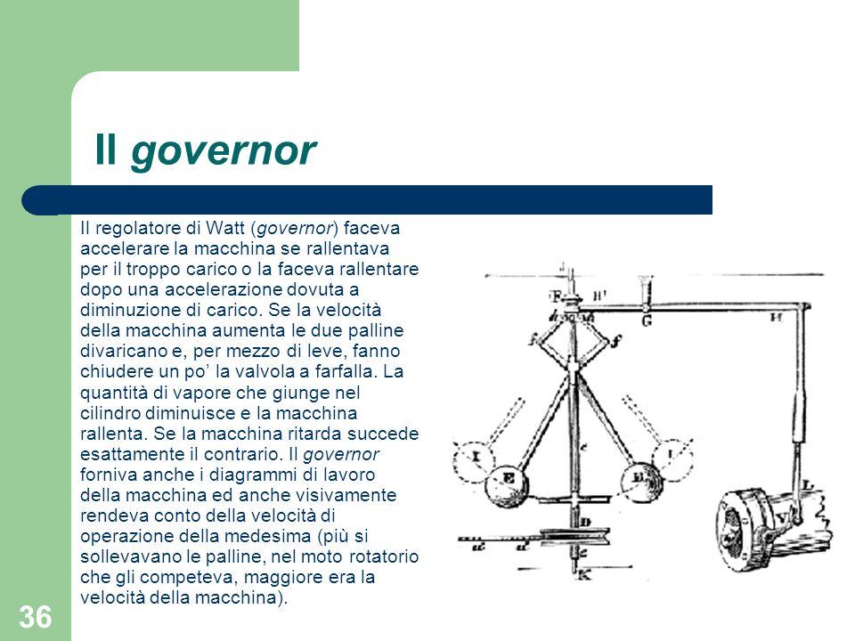 36 Il governor Il regolatore di Watt (governor) faceva accelerare la macchina se rallentava per il troppo carico o la faceva rallentare dopo una accel