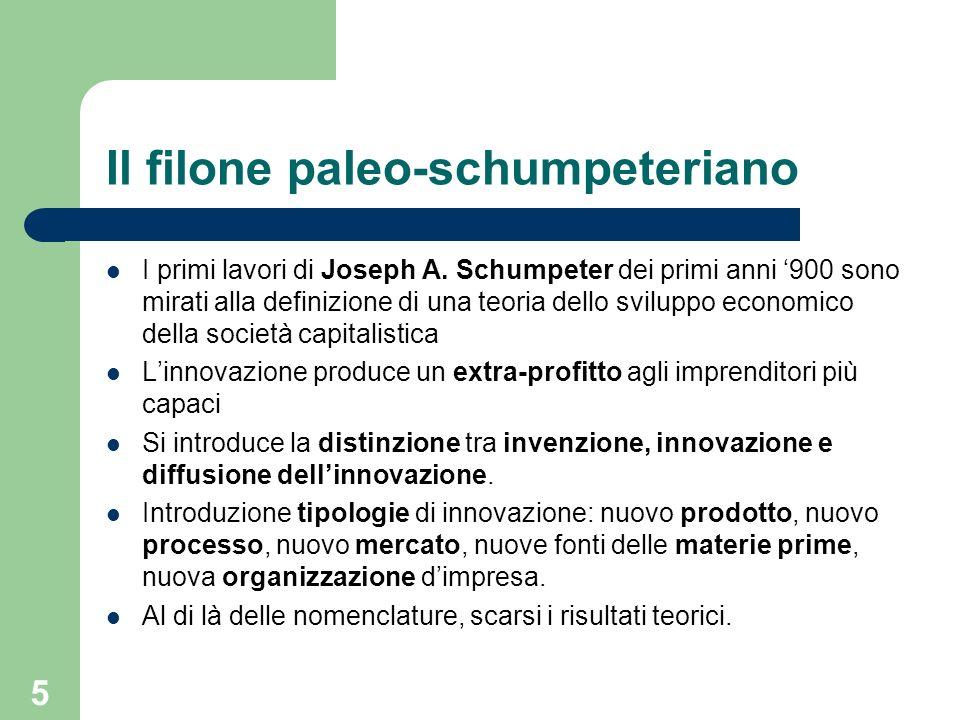 5 Il filone paleo-schumpeteriano I primi lavori di Joseph A. Schumpeter dei primi anni 900 sono mirati alla definizione di una teoria dello sviluppo e