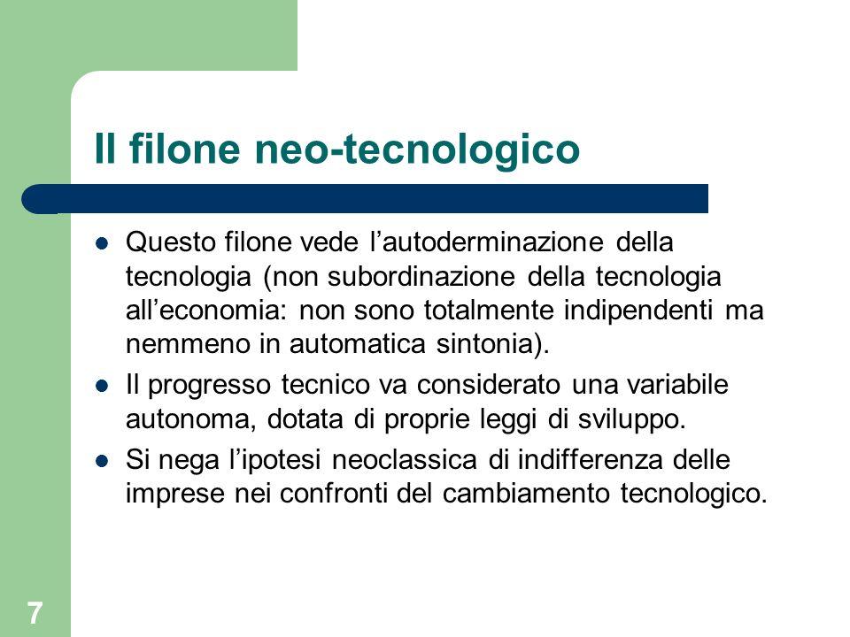 7 Il filone neo-tecnologico Questo filone vede lautoderminazione della tecnologia (non subordinazione della tecnologia alleconomia: non sono totalment