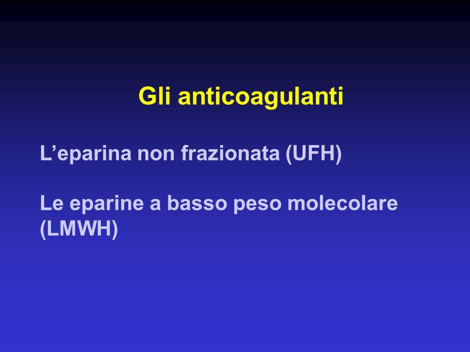 Gli anticoagulanti Leparina non frazionata (UFH) Le eparine a basso peso molecolare (LMWH)