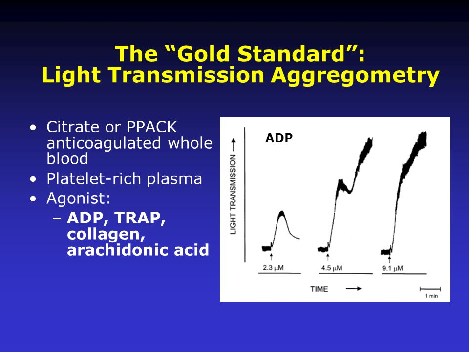 Citrate or PPACK anticoagulated whole blood Platelet-rich plasma Agonist: –ADP, TRAP, collagen, arachidonic acid The Gold Standard: Light Transmission