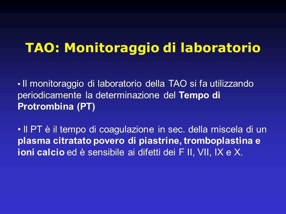 TAO: Monitoraggio di laboratorio Il monitoraggio di laboratorio della TAO si fa utilizzando periodicamente la determinazione del Tempo di Protrombina