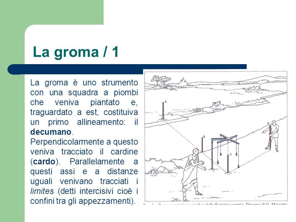 La groma / 1 La groma è uno strumento con una squadra a piombi che veniva piantato e, traguardato a est, costituiva un primo allineamento: il decumano