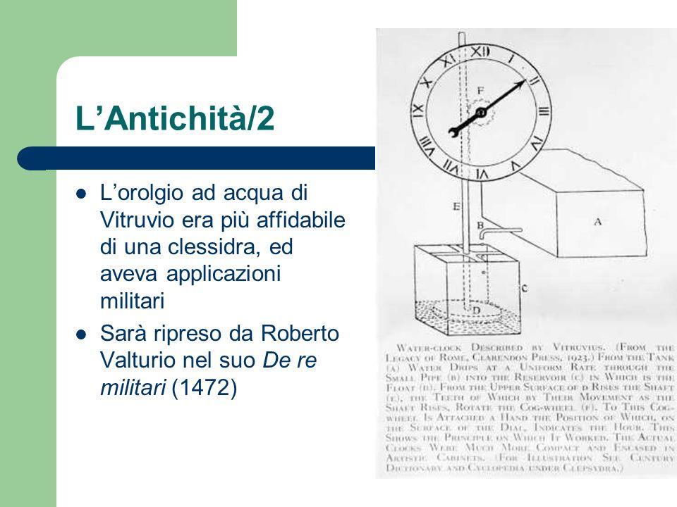 LAntichità/2 Lorolgio ad acqua di Vitruvio era più affidabile di una clessidra, ed aveva applicazioni militari Sarà ripreso da Roberto Valturio nel su
