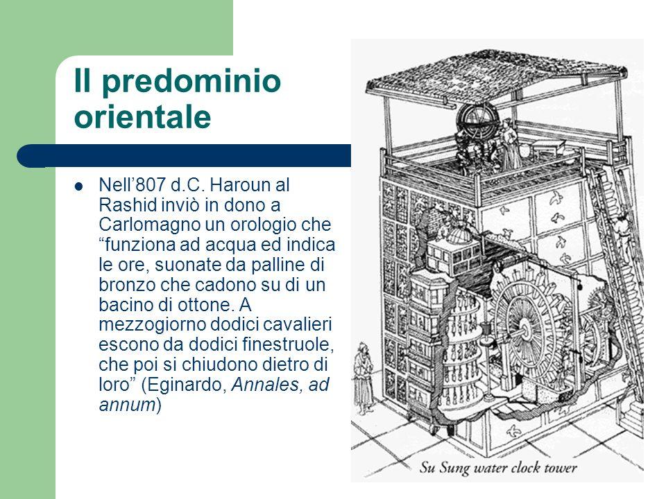 Il predominio orientale Nell807 d.C. Haroun al Rashid inviò in dono a Carlomagno un orologio che funziona ad acqua ed indica le ore, suonate da pallin