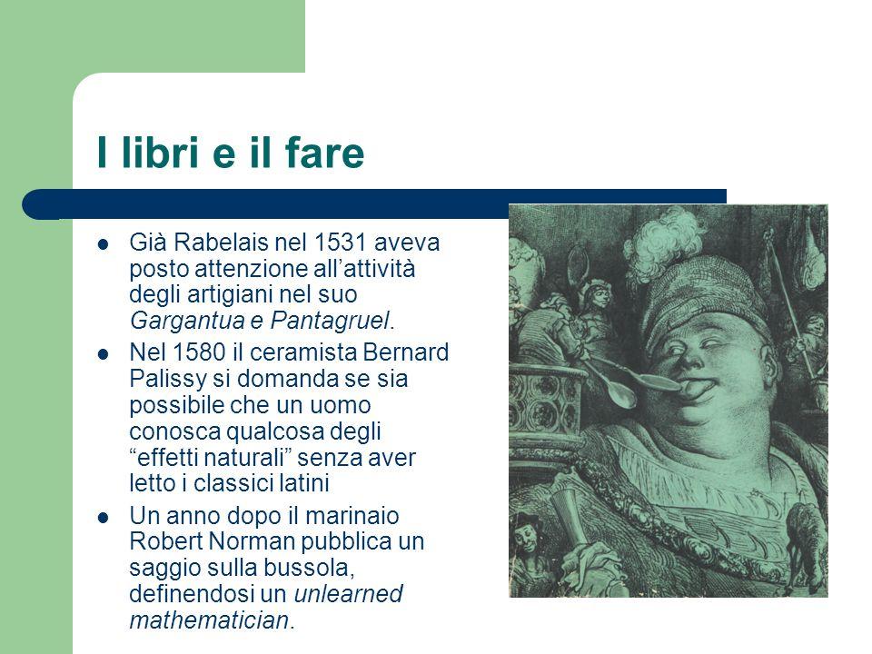 I libri e il fare Già Rabelais nel 1531 aveva posto attenzione allattività degli artigiani nel suo Gargantua e Pantagruel. Nel 1580 il ceramista Berna