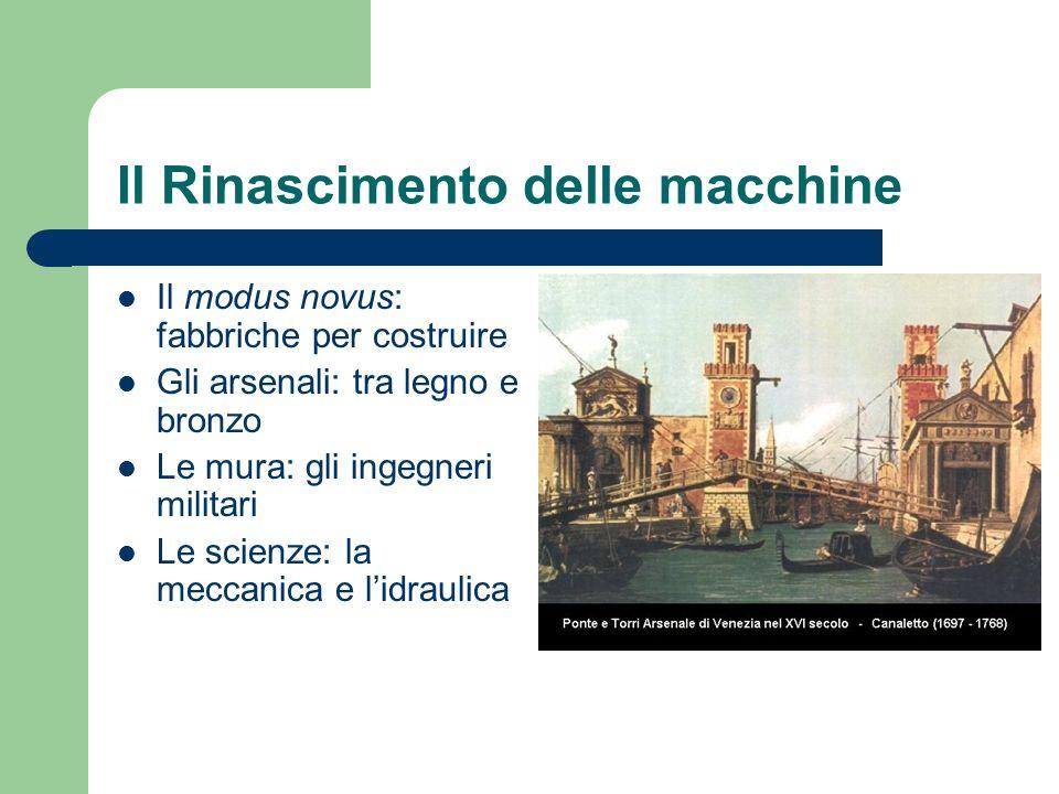 Il Rinascimento delle macchine Il modus novus: fabbriche per costruire Gli arsenali: tra legno e bronzo Le mura: gli ingegneri militari Le scienze: la