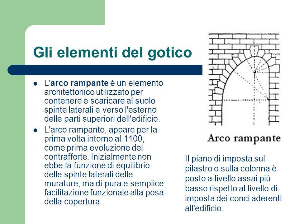 Gli elementi del gotico L'arco rampante è un elemento architettonico utilizzato per contenere e scaricare al suolo spinte laterali e verso l'esterno d