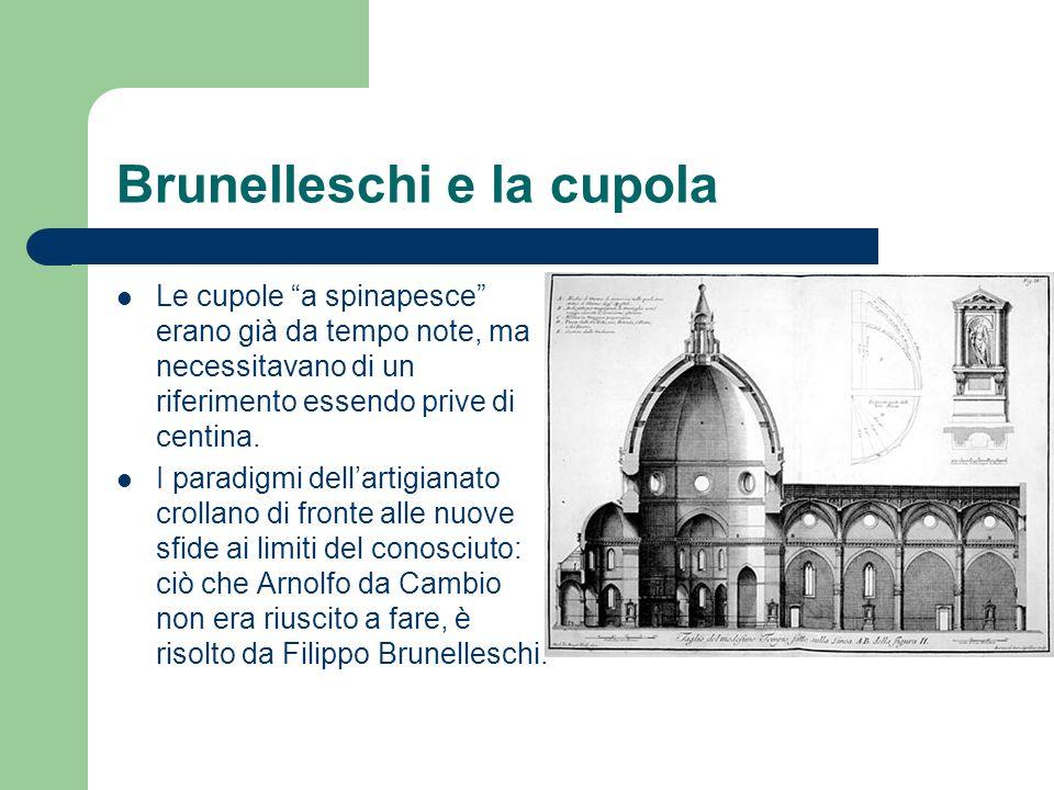Brunelleschi e la cupola Le cupole a spinapesce erano già da tempo note, ma necessitavano di un riferimento essendo prive di centina. I paradigmi dell