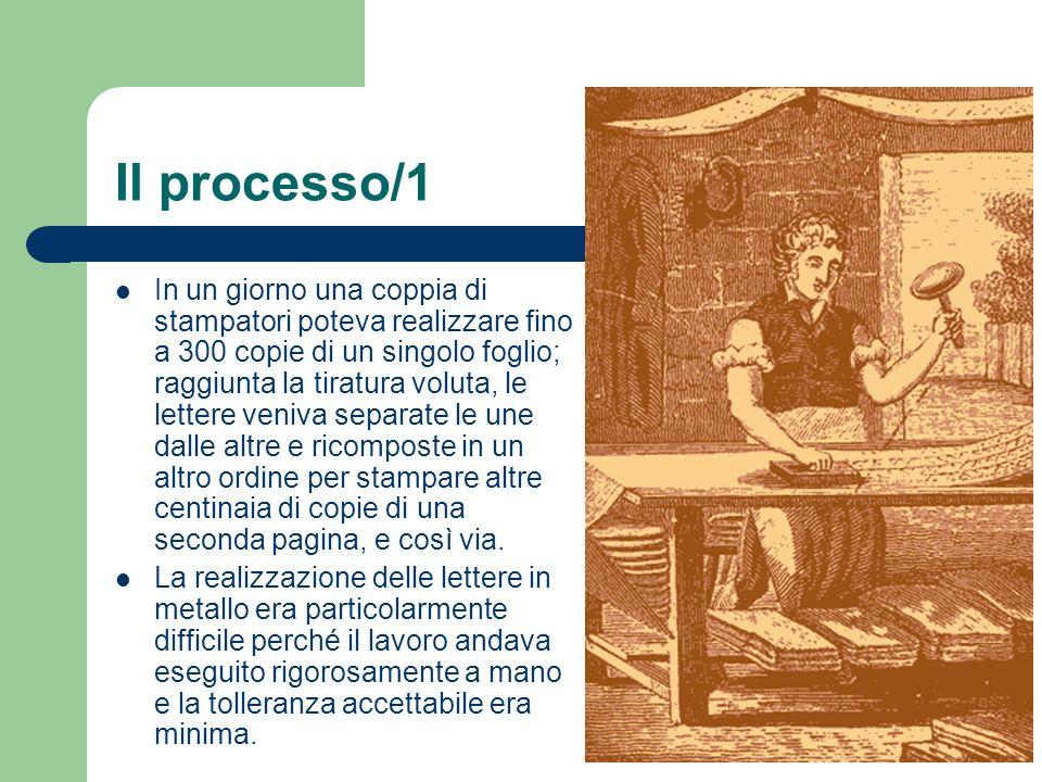 Il processo/1 In un giorno una coppia di stampatori poteva realizzare fino a 300 copie di un singolo foglio; raggiunta la tiratura voluta, le lettere