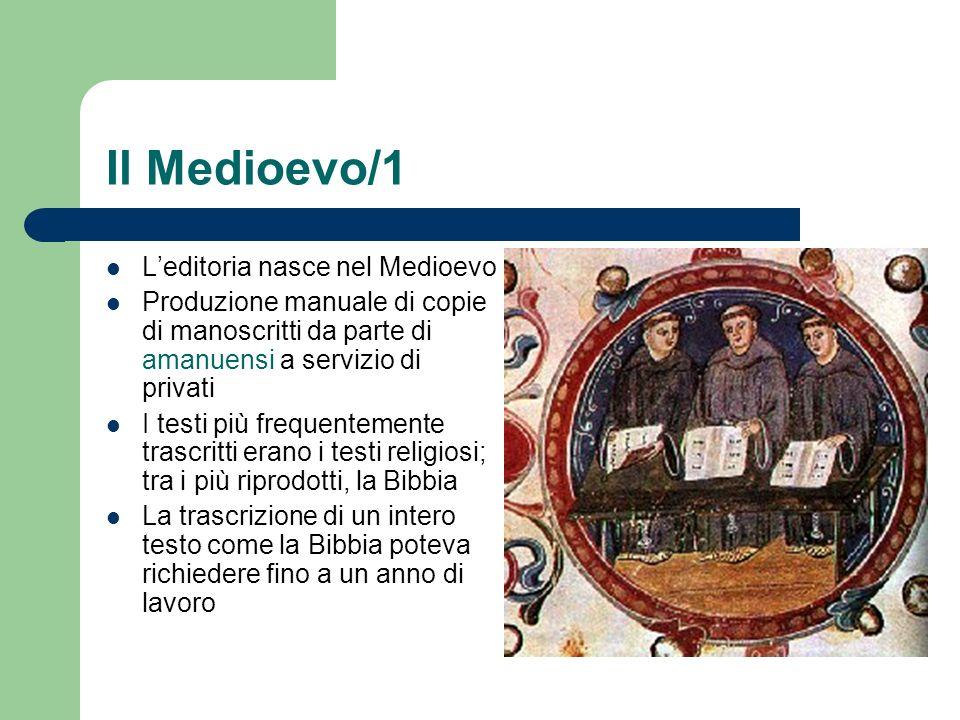 Il Medioevo/1 Leditoria nasce nel Medioevo Produzione manuale di copie di manoscritti da parte di amanuensi a servizio di privati I testi più frequent