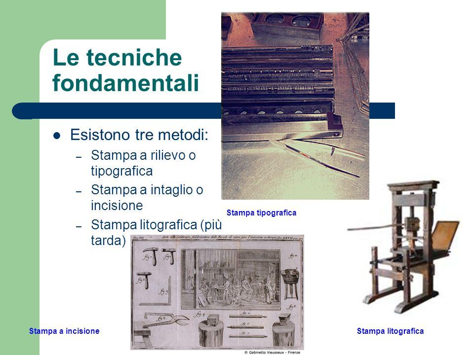 Le tecniche fondamentali Esistono tre metodi: – Stampa a rilievo o tipografica – Stampa a intaglio o incisione – Stampa litografica (più tarda) Stampa