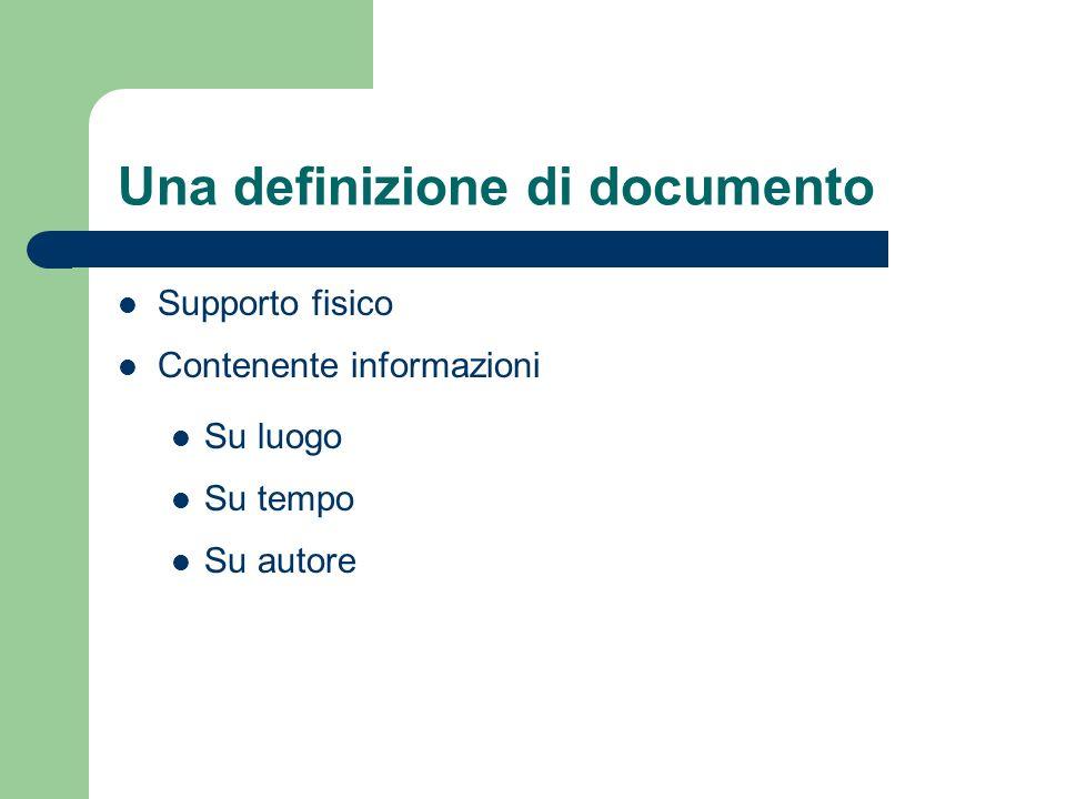 Una definizione di documento Supporto fisico Contenente informazioni Su luogo Su tempo Su autore