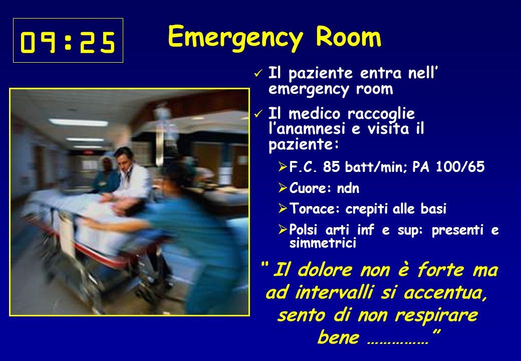 09:25 Il paziente entra nell emergency room Il medico raccoglie lanamnesi e visita il paziente: F.C.