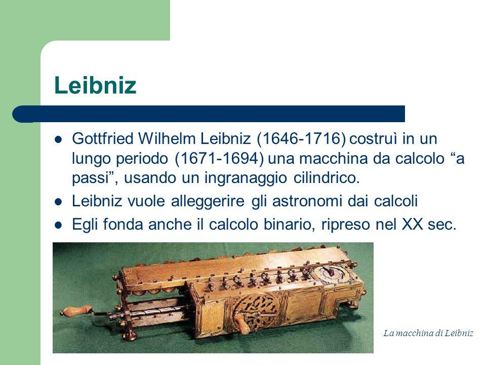 Leibniz Gottfried Wilhelm Leibniz (1646-1716) costruì in un lungo periodo (1671-1694) una macchina da calcolo a passi, usando un ingranaggio cilindric