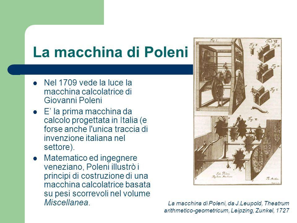 La macchina di Poleni Nel 1709 vede la luce la macchina calcolatrice di Giovanni Poleni E la prima macchina da calcolo progettata in Italia (e forse a