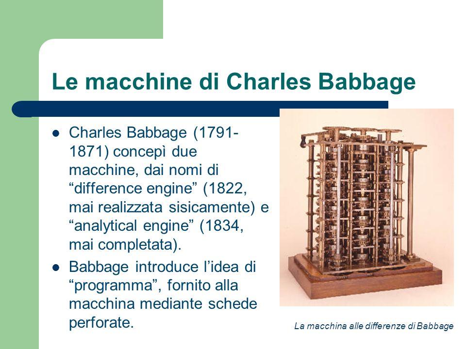 Le macchine di Charles Babbage Charles Babbage (1791- 1871) concepì due macchine, dai nomi di difference engine (1822, mai realizzata sisicamente) e a