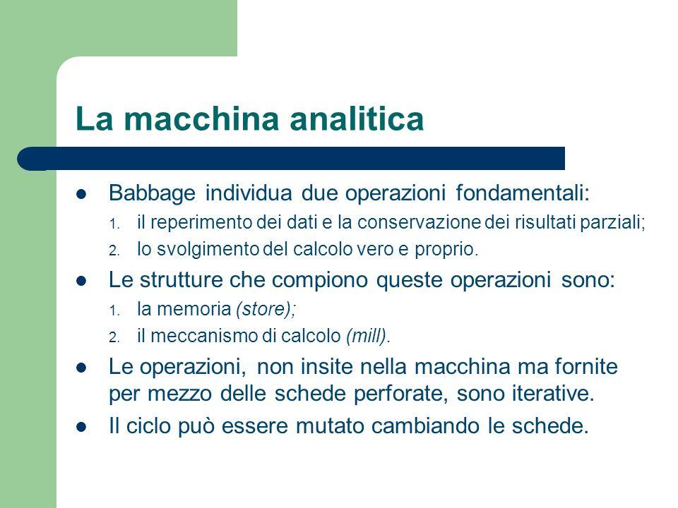 La macchina analitica Babbage individua due operazioni fondamentali: 1. il reperimento dei dati e la conservazione dei risultati parziali; 2. lo svolg