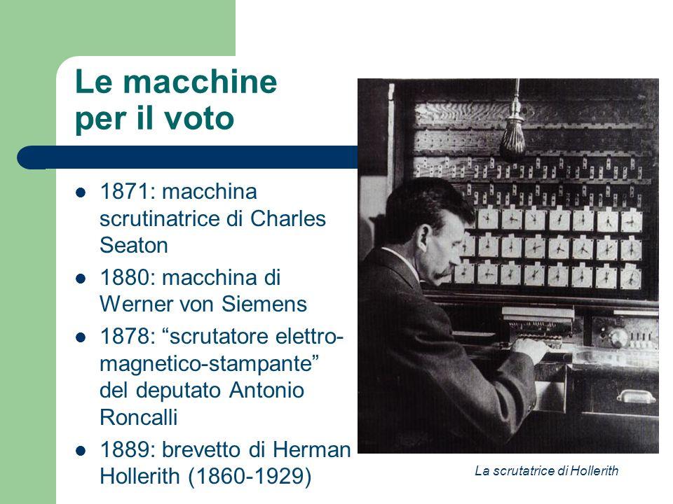 Le macchine per il voto 1871: macchina scrutinatrice di Charles Seaton 1880: macchina di Werner von Siemens 1878: scrutatore elettro- magnetico-stampa