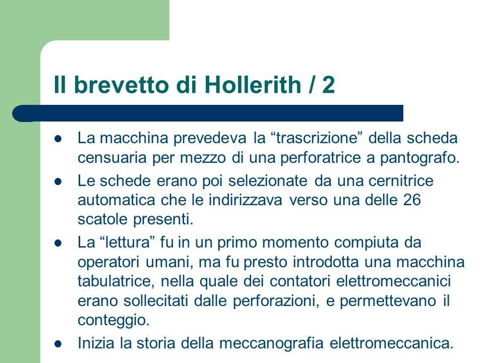 Il brevetto di Hollerith / 2 La macchina prevedeva la trascrizione della scheda censuaria per mezzo di una perforatrice a pantografo. Le schede erano