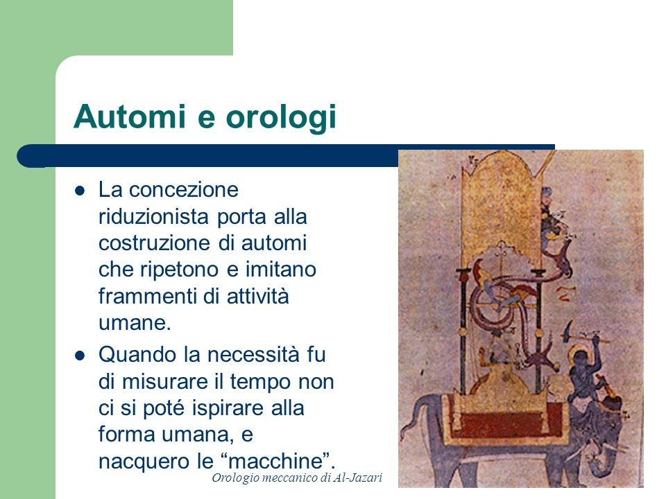 Automi e orologi La concezione riduzionista porta alla costruzione di automi che ripetono e imitano frammenti di attività umane. Quando la necessità f