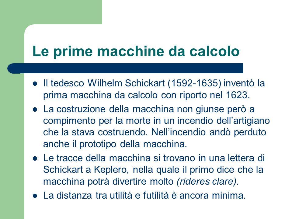 Le prime macchine da calcolo Il tedesco Wilhelm Schickart (1592-1635) inventò la prima macchina da calcolo con riporto nel 1623. La costruzione della