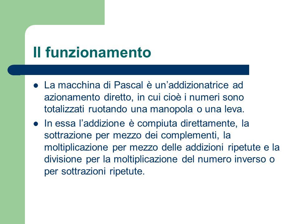 Il funzionamento La macchina di Pascal è unaddizionatrice ad azionamento diretto, in cui cioè i numeri sono totalizzati ruotando una manopola o una le